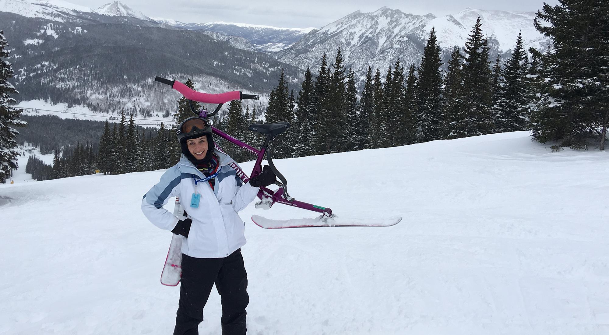 Adrian Bulinski – first ski bike at Copper Mountain